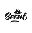 seoul city name original design black ink hand vector image