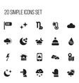 set of 20 editable weather icons includes symbols vector image