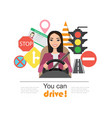 set of road symbols and asian woman driver vector image vector image