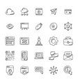 set of seo and marketing doodle icons vector image vector image