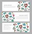 set of three digital construction horizontal vector image vector image