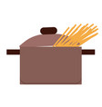 spaghetti or pasta boiling in pan or stewpan vector image