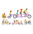two happy families riding on tandem bicycles with vector image
