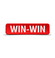 Win-Win red 3d square button isolated on white vector image vector image