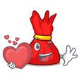 with heart wrapper candy mascot cartoon vector image