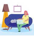 working remotely young woman and cat with laptop vector image vector image