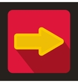 Yellow arrow on red background icon flat style vector image