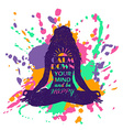Yoga Lotus Pose Woman Silhouette Over Colorful vector image vector image