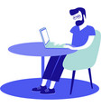 young man sitting at his desk using laptop vector image vector image