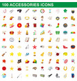 100 accessories icons set cartoon style vector image