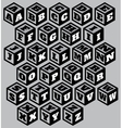 three-dimensional retro alphabet on three surfaces vector image