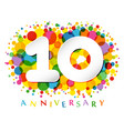 10 years anniversary paper colorful logo vector image