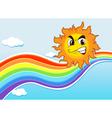 A sky with a rainbow and an angry sun vector image vector image