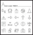 Airport Element Line Icon Set 4Mono pack vector image
