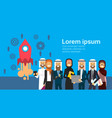 arabic people group processing launch of rocket vector image vector image