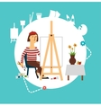 artist paints still life vector image vector image