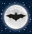 bat on background moon on halloween vector image vector image