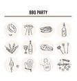 bbq party set menu doodle icons vector image