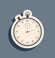 black classic stopwatch icon isolated on grey vector image vector image