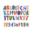 bright colored hand drawn latin font or english vector image