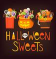 buckets wih halloween sweets vector image vector image
