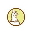 Chicken Hen Head Side Circle Cartoon vector image vector image