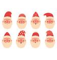 christmas santa claus cute mascots facial vector image vector image