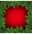 christmas tree branches on red background eps 10 vector image vector image