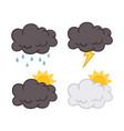 cloud set weather element set collection vector image