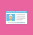 concept of pensioner id cardgrandparent identity vector image vector image
