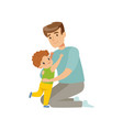 father embracing his son dad hugging his child vector image vector image