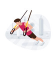 fit man working out on trx doing bodyweight vector image vector image
