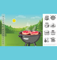 flat picnic weekend party composition vector image vector image