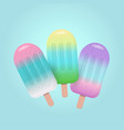 fruit popsicles in pastel colors on blue vector image vector image