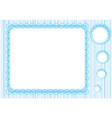 graphic lace frame in blue tones simple vector image vector image