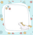 greeting card with cartoon unicorn greeting card vector image vector image