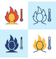 high temperature icon set in line style vector image vector image