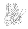 isolated black and white butterfly on a white vector image vector image