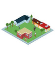 isometric group of houses vector image vector image