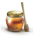 jar honey and bees on white background vector image vector image