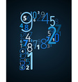 Letter P font from numbers vector image vector image
