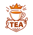 logo cup tea and a crown vector image