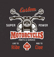 motorcycle front view on dark t-shirt print vector image vector image