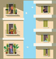 neighbors on balconies people rest with pets vector image vector image