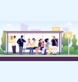 people at bus stop city community transport vector image vector image