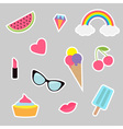 Quirky cartoon sticker patch set Summer time vector image vector image