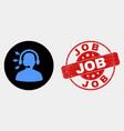 radio operator icon and distress job stamp vector image vector image