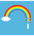 Rainbow cloud in the sky and paint roller vector image vector image