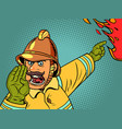 retro fireman yells about a fire danger and vector image