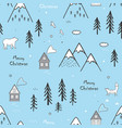 seamless winter hand drawn pattern with snow vector image vector image